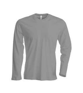 Pánske tričko ( Kariban Mens Long Sleeve Round Neck T-Shirt )   šedá ( 257eb08897