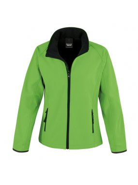 Dámska softshell bunda(RESULT LADIES PRINTABLE SOFTSHELL JACKET)>zelená / čierna>L