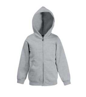 Detská mikina (FRUIT OF THE LOOM Kids Hooded Sweat Jacket)>šedá (heather)>12/13