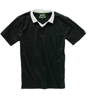 V-neck Polo; Black/white; M
