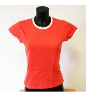 Ladies-Ringer-T-Shirt; Coral; M
