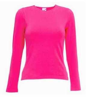 LADY FIT C-NECK LS; fuchsia; XS